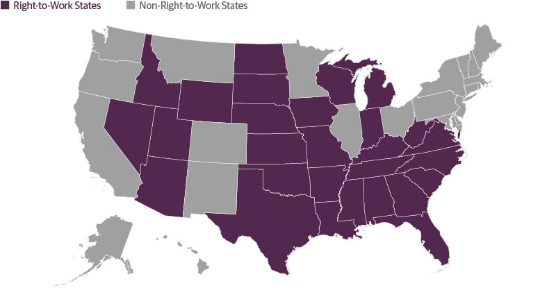 Right To Work States Vs Union States Map.Municipal Bonds Courting Favor Guggenheim Investments